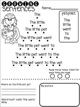 Growing Sentences: Short E Decodable Sentences- Fluency