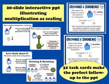 Growing & Shrinking – scaling fractions ppt, task cards, and printables