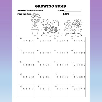 Growing Sums Adding multiple 1-digit numbers