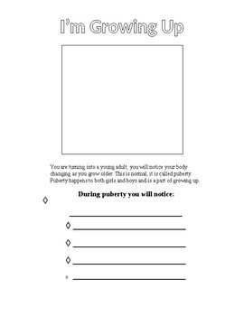 Growing Up Worksheet (puberty)