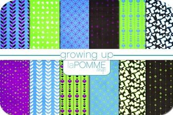 Growing Up in the 80's Black Neon Patterned Digital Paper Pack Blue Purple Green