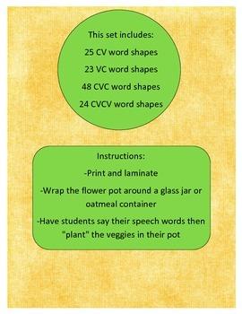 Growing Veggie Word Shapes: CV, VC, CVC, CVCV