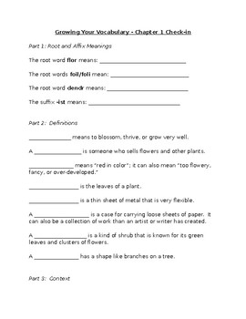 Growing Your Vocabulary Chapter 1 Quiz