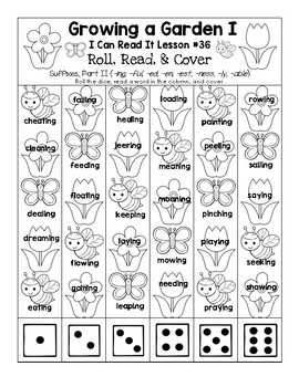 Growing a Garden - I Can Read It! Roll, Read, and Cover (Lesson 36)