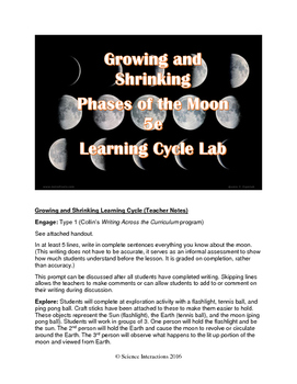 Growing and Shrinking: Moon Phases 5e Lab and Interactive Notebook Pages