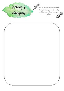 Growing & changing printable template