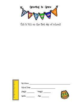 Growing in Grace First Day Sheets