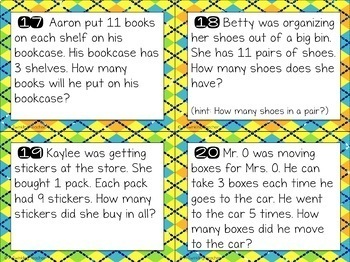 Growing multiplication task card word problems by fact families!