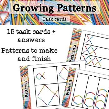 Growing number patterns task cards
