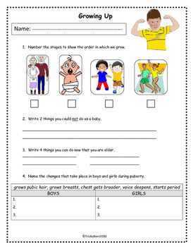 Growing up printable - Bright Gems Learning