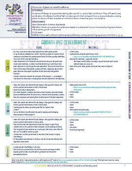 Growth & Development - STEM Lesson Plan With Journal page
