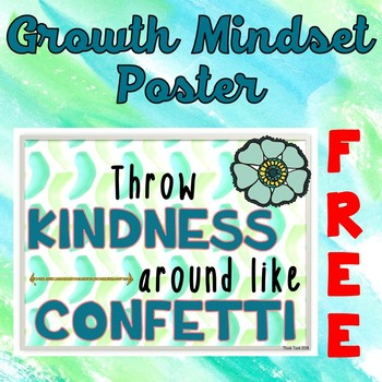 Growth Mindset Poster - FREE- Positive Quote- Watercolor