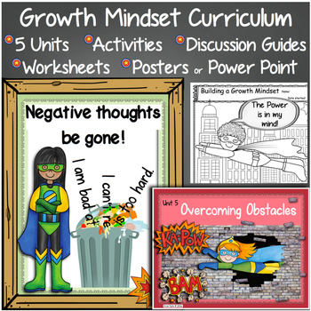 Growth Mindset Curriculum: Discussion Guide, PowerPoint /Posters, & Activities