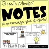 Positive Growth Mindset Notes to Encourage students: Dista