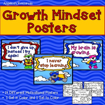 Growth Mindset Posters (Including Coloring Pages) Superhero Theme