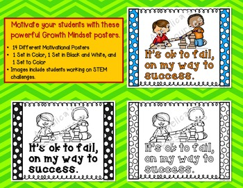 Growth Mindset Posters (Including Coloring Pages)