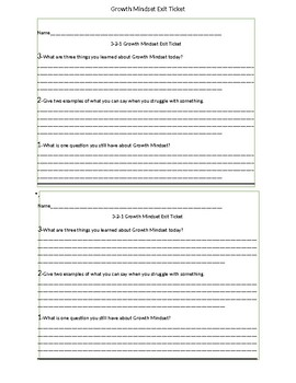 Growth Mindset 3-2-1 Exit ticket