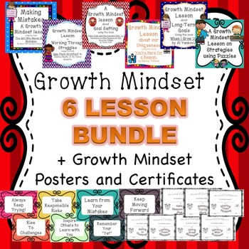 Growth Mindset 6 lesson bundle plus growth mindset certificates and posters