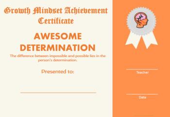 Growth Mindset Achievement Certificates for Kids Orange Edition