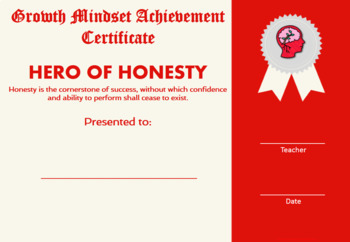 Growth Mindset Achievement Certificates for Kids Red Edition