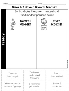 Growth Mindset Activities: Daily Warm-Up Journal - K-1st Grade FREE Sample