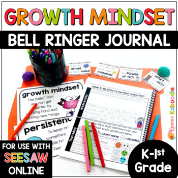 Growth Mindset Bell Ringers: Daily Warm-Up Journal Activities for K-1st Grade
