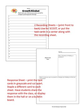 Growth Mindset Game Activity Board Game with Task Cards