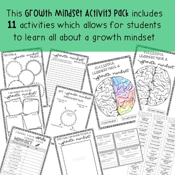 Growth Mindset Activity Pack  - Grade 3 - 6