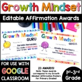End of Year Growth Mindset Awards for Primary Grades