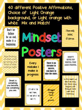 Habits  Mindset Affirmations for the classroom.  Printable- bright, light orange