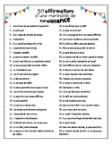 Growth Mindset Affirmations in French