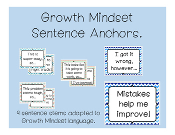 Elementary and Intermediate Growth Mindset Anchor Chart Phrases