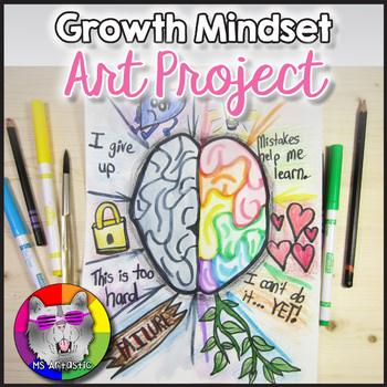 Teach Growth Mindset vs Fixed Mindset through art! Discuss what each is and have students begin to train their brains and have a better understanding of Growth Mindset through reflecting and creating art.
