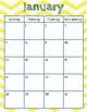 Growth Mindset Aug. 2017-Aug. 2018 Calendar with Chevron Background