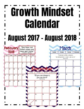 Growth Mindset Aug. 2017-Aug. 2018 Calendar with Chevron Background