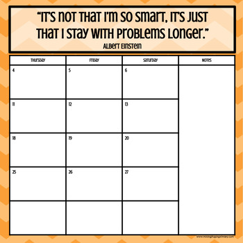 Growth Mindset Aug. 2018 - Aug. 2019 Monthly & Weekly Calendar