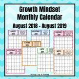 Growth Mindset August 2018-August 2019 Monthly Calendar with Chevron Background
