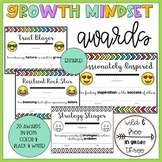 Growth Mindset Awards & Recognitions (20 Editable Color and B&W Certificates)