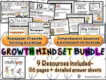 Growth Mindset- Peter H. Reynolds Author Study, The Dot, Ish, Sky C