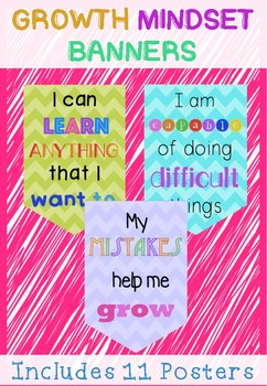Growth Mindset Banners- Includes 11 Posters #ausbts18