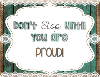 Growth Mindset Banners, Posters, & Activities- Teal Wood, Burlap & Lace