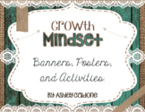 Growth Mindset Banners, Posters, & Activities- Teal Wood,