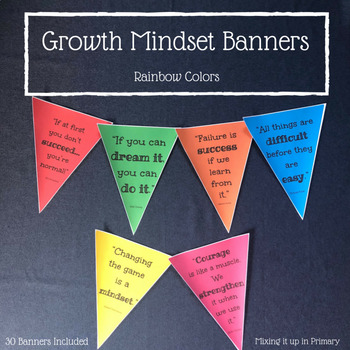 Growth Mindset Banners Rainbow Colors