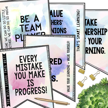 Growth Mindset Banners: Set 2 (Watercolor)