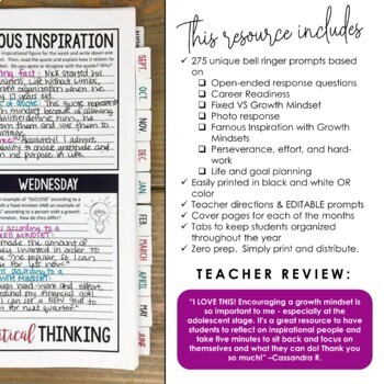Growth Mindset Bell Ringer Journal for Entire School Year: 275 Prompts EDITABLE