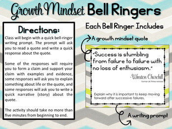 Growth Mindset Bell Ringers Volume 2: Common Core Growth Mindset Writing