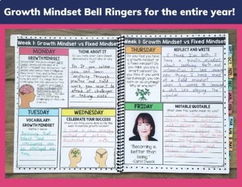 Growth Mindset Bell Ringers and Morning Work EDITABLE
