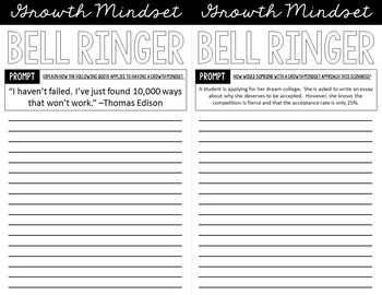 Growth Mindset Bell Ringers for Teens