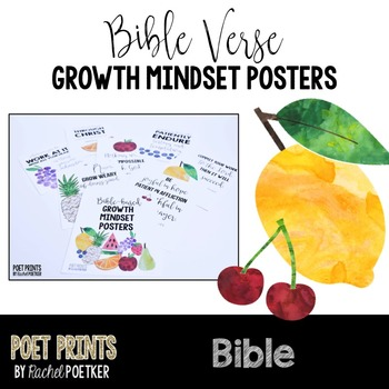Growth Mindset Bible Posters, Inspirational Quotes