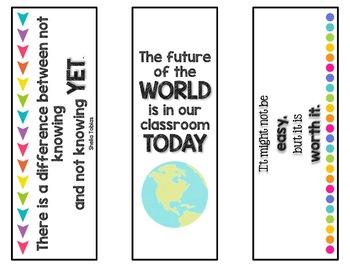Growth Mindset Bookmarks - 18 bookmarks